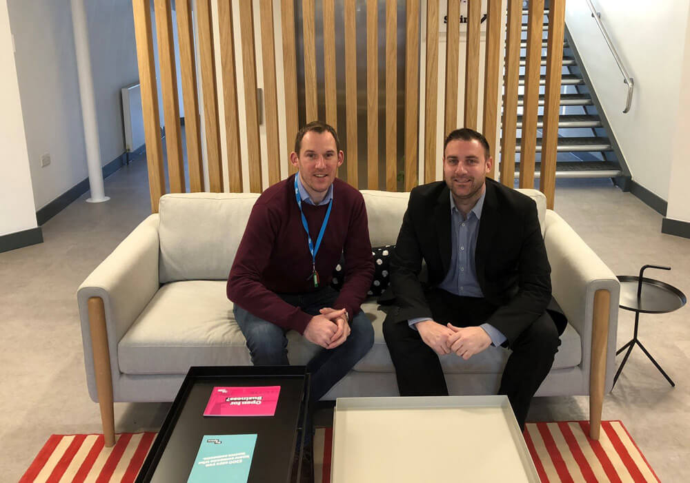 Tom of Hosted Fudge with Bristol centre manager David