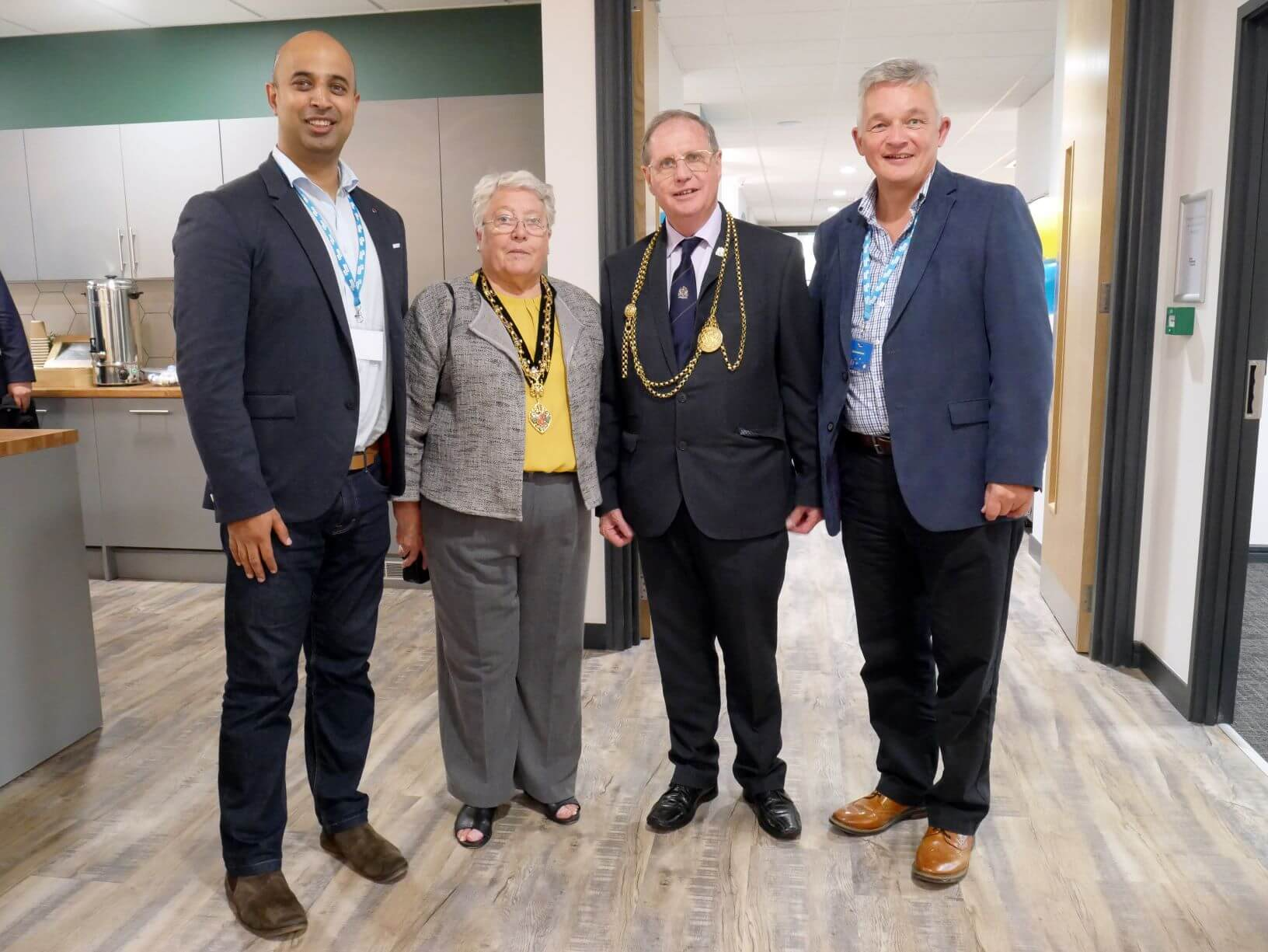 The Lord May and Mayoress of Newcastle with Brian Andrews, Head of Operations at BizSpace and Khalid Aziz, Marketing Director at BizSpace.