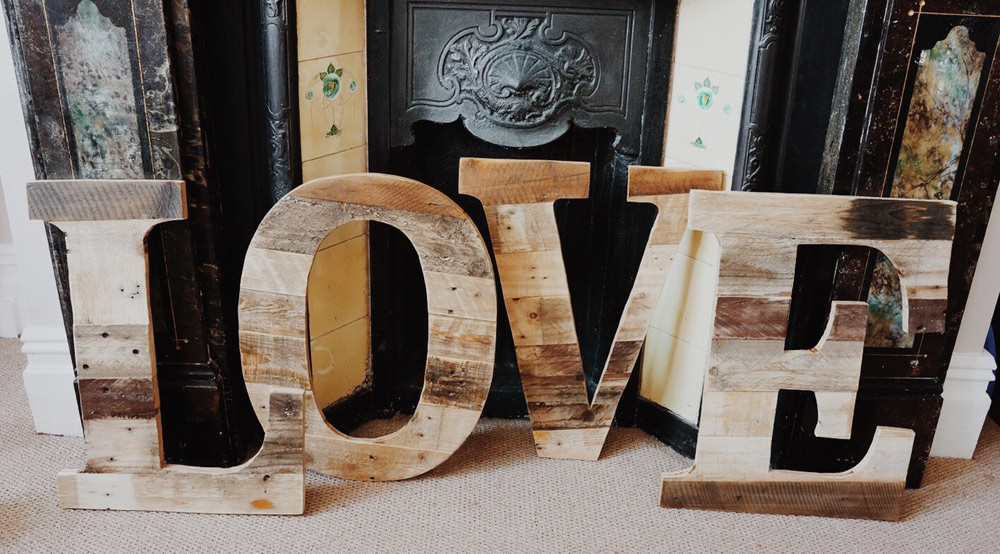 Wooden letters spelling the word 'love'