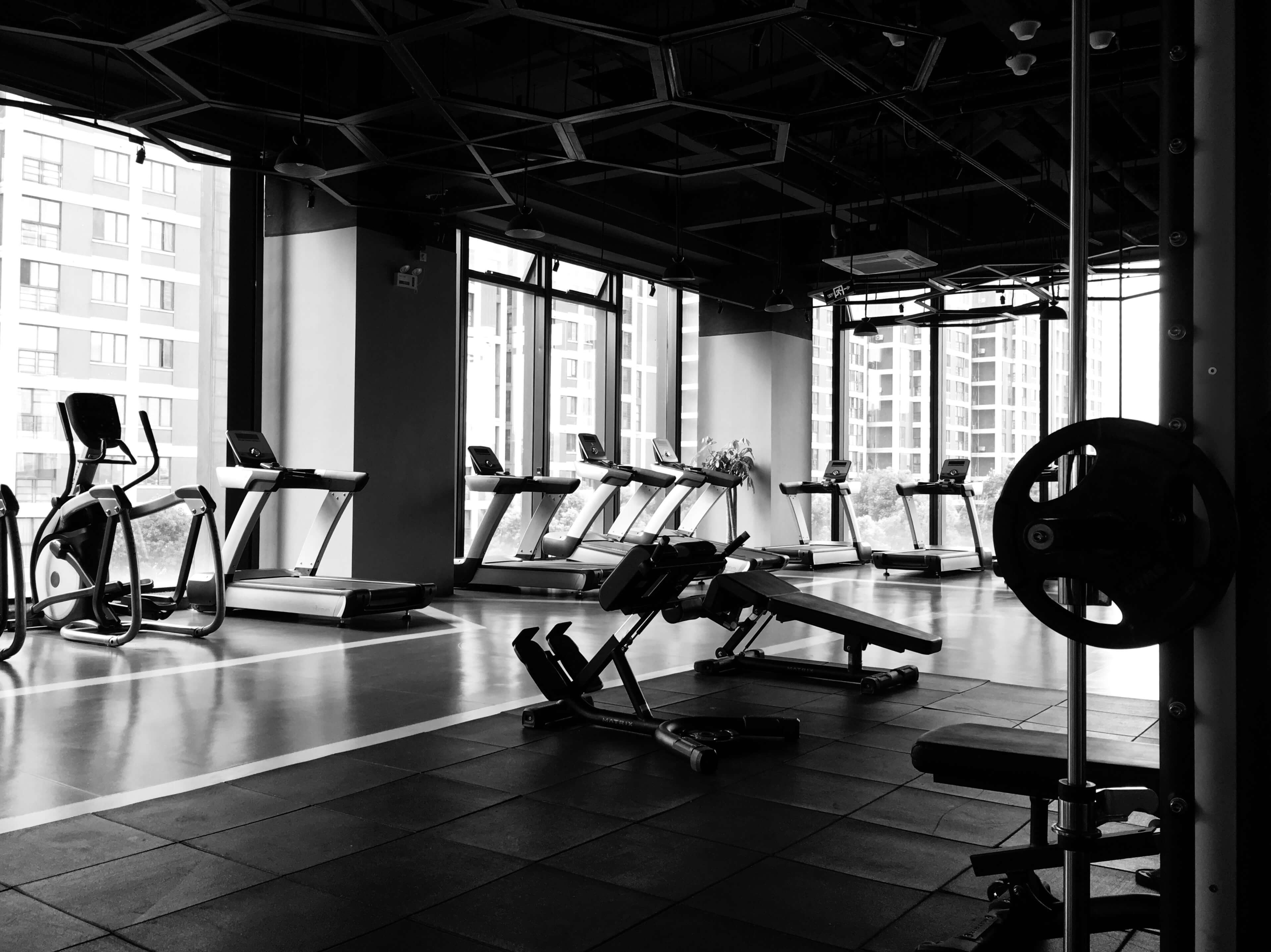 A gym with treadmills and weights machines