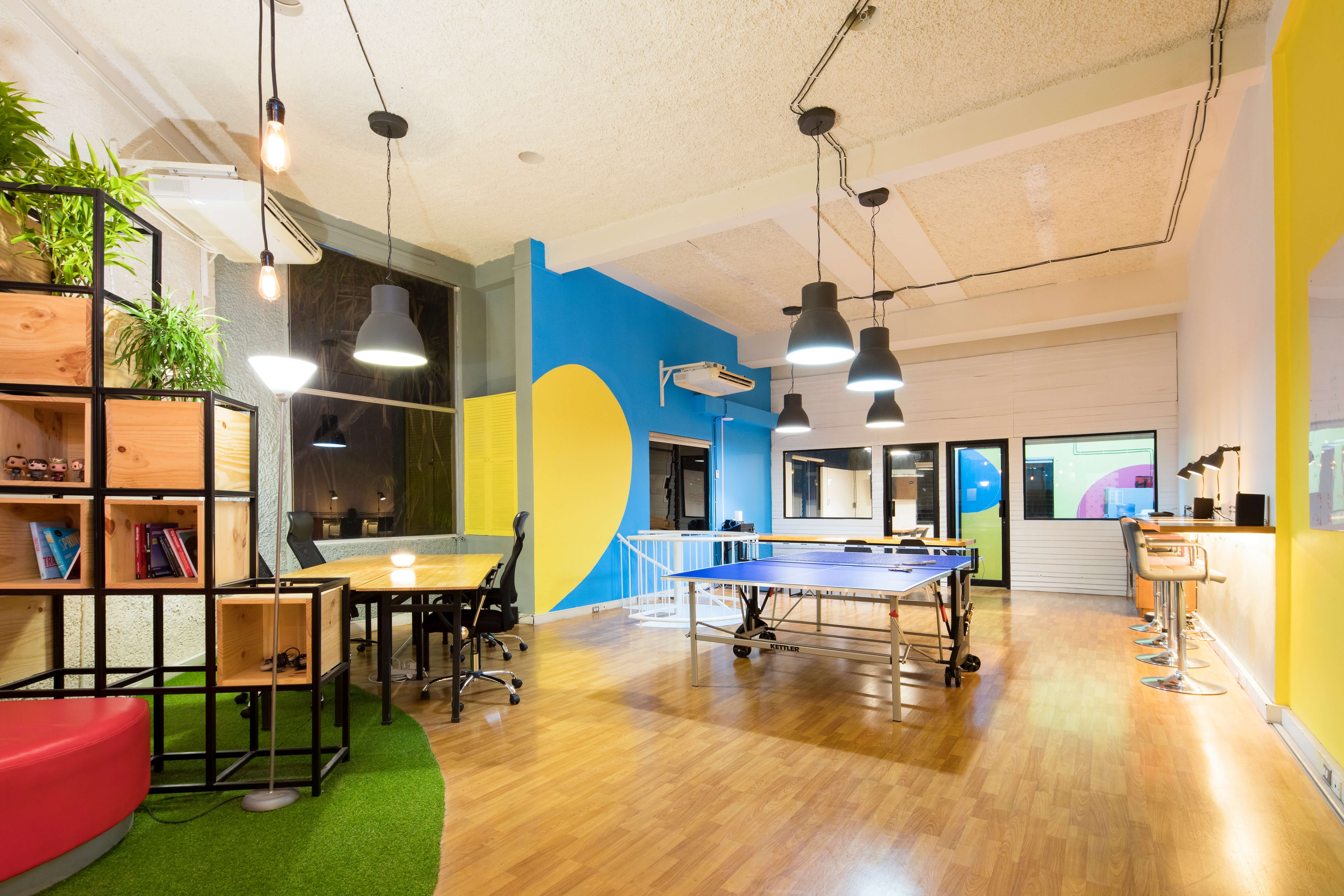 An office with a ping pong table