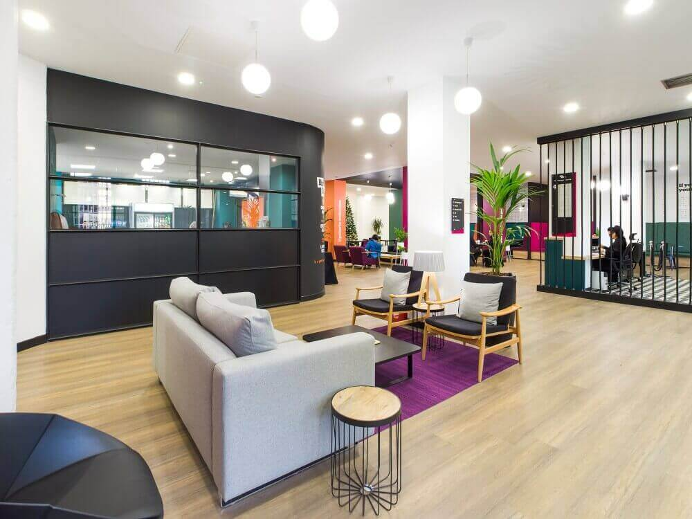 Seating area in flexible office space