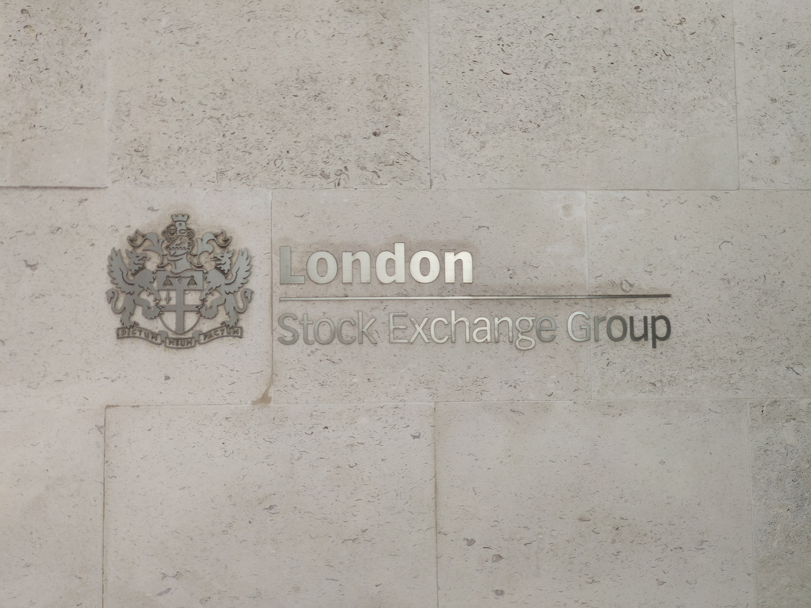 Sign on the London Stock Exchange building